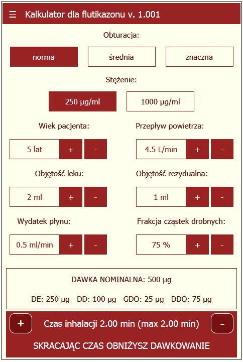 Kalkulator dla flutikazonu