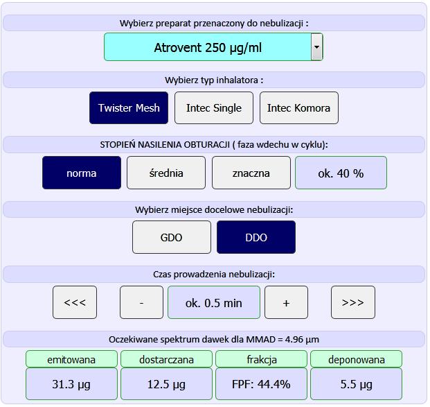 Kalkulator inhalatorów siateczkowych INTEC