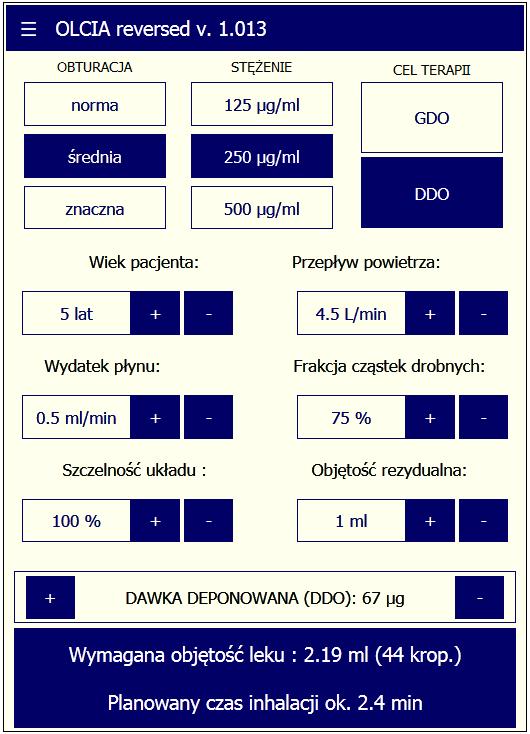 Odwrotny kalulator dla depozycji GDO/DDO