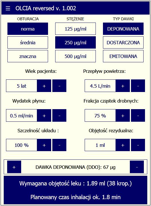 Odwrotny kalkulator dla 3 typów dawek